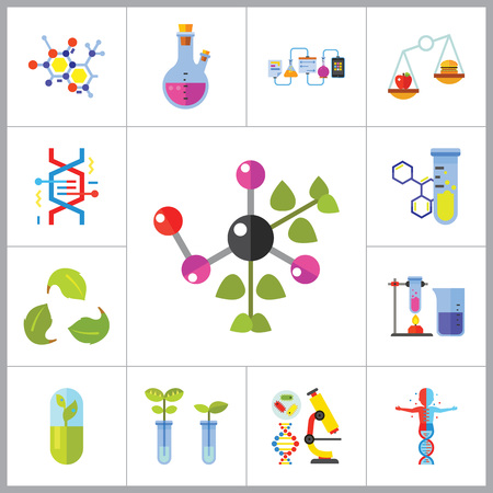 productos quimicos: Biology Icon Set. Cell Structure Flask Test Tube Products On Scales Heating Test Tube Human Genome Molecule Genetically Modified Plants DNA Herbal Capsule Chemical Experiment Creative Recycling Sign
