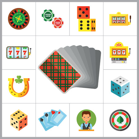 croupier: Casino Icon Set. Roulette Poker Chips Dice Slot Machine Display Playing Cards Slot Machine Casino Dice Croupier Casino Symbol Cards Suits Horseshoe And Shamrock Jackpot