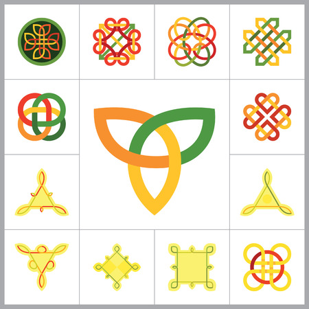 Celtic Ornament Icon Set. Unendlichen Knoten Endloser Knoten ewigen Knoten buddhistische Symbol Dekorative Knoten Ornament Keltische Knoten Keltischer Symbol Celtic Element Celtic Sign Triqueta Keltisches Schild Quartär-Knoten Vektorgrafik