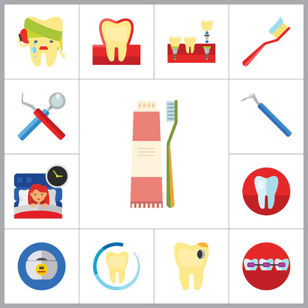 insomnia: Dental Icon Set. Toothache Tooth Implant Dental Floss Interdental Brush Caries Braces Dental Care Insomnia Healthy Tooth Stomatology Tooth Brush Toothpaste