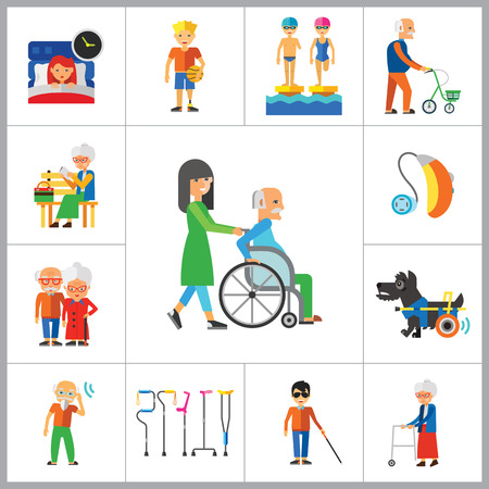 sportsmen: Disabled Icon Set. Blind Crutches Deaf Hearing Aid Insomnia Walker Elderly People Old Age Sportsman With Prosthesis Nurse And Patient Amputated Limbs Disabled Dog