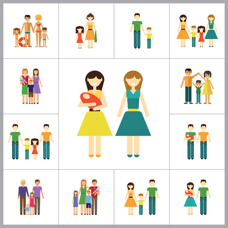 nontraditional: Family Icon Set. Family With Baby Family With Children Family With Child Happy Family Gay Family Gay Family With Baby Non-traditional Family Father And Son Mother And Daughter Family On Beach Illustration