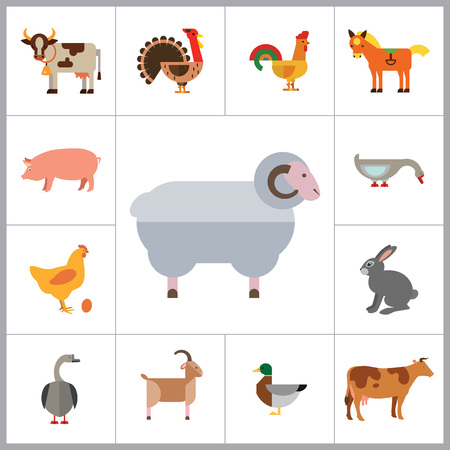 cow bells: Farm Animal Icon Set. Cow Hen And Egg Turkey Goose Cockerel Duck Goat Pecking Goose Ram Pig Horse Rabbit Spotted Cow