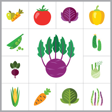 thirteen: Healthy food icons set with carrot, cucumber and tomato. Thirteen vector icons