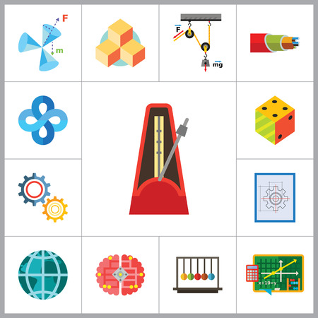 to gravity: Mathematics Icon Set. Gear Wheel Drawing Metronome With Pendulum Collision Balls Globe Cubes Diagram Philosophy Symbol Logic Concept Algebra Cable Artificial Intelligence Gravity Force Illustration
