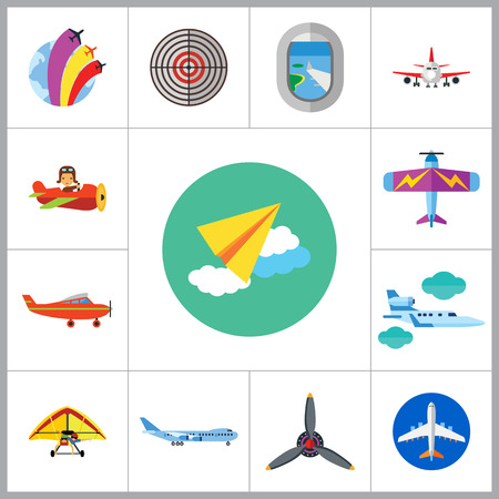 air show: Plane Icon Set. Air Show Paper Plane Flying Plane Airplane Propeller Big Plane Jet Plane Kids Plane Light Plane Old Plane Target Plane Window Airplane Front View Hang-glider Illustration