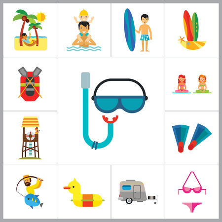 meditation man: Sea Vacation Icon Set. Caravan Man Drinking Cocktail Rubber Duck Diving Mask And Snorkel Rubber Boat Swimming Father And Child Lifeguard Tower Fishing Man With Surfboard Bikini Flippers Meditation