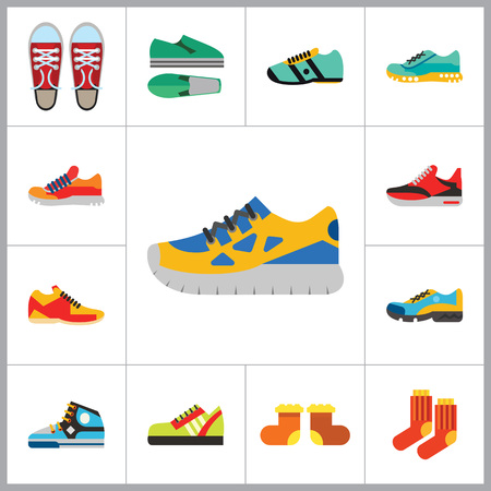 shoelaces: Shoes Icon Set. Sneakers Summer Shoes Sport Shoe Trainer Jogging Shoe Gymshoe Running Shoe Football Shoe Basketball Shoe Socks Valenki Plimsoll
