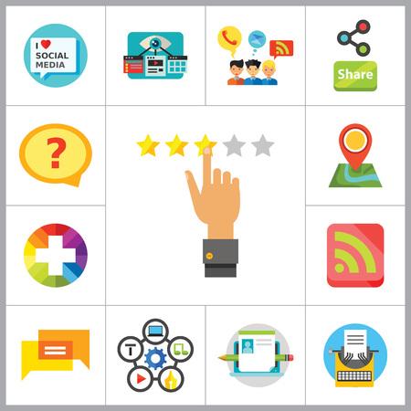 media love: Social Media Icon Set. Quality Label Question Bubble Social Media Blogging Plus Sign Content Management Copywriting I Love Social Media Share Rating Internet Chatting Visual Optimization