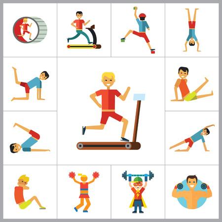 rock climber: Sportsman vector icons set. Thirteen icons of running man, rock climber, bodybuilder and other sportsmen Illustration