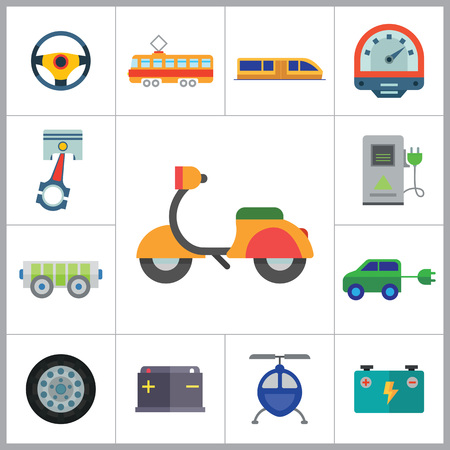 thirteen: Vehicle icons set with helicopter, electrocart and trolley car. Thirteen vector icons