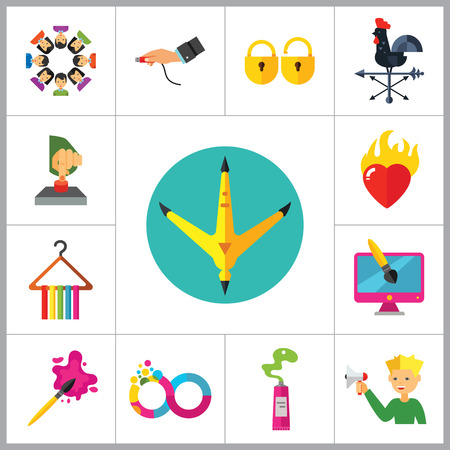 rooster weather vane: Abstract Concepts Icon Set. Team Press Button Burning Heart Hand With USB Cable Padlocks Weathercock Hen Paw Print Man With Megaphone Infinity Fashion Design Brush Paint Tube