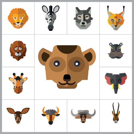 ox eye: Animal Faces Icon Set. Lion Head Zebra Head Hippo Head Giraffe Head Lion Face Wolf Head Elephant Head Antelope Head Meerkat Head Doe Head Ox Face Red Lynx Head Bull Head
