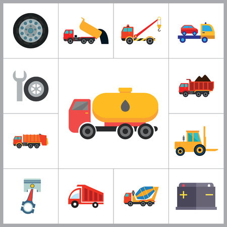 fork lift: Automotive icons set with car wheel, crane truck and fork lift truck. Thirteen vector icons