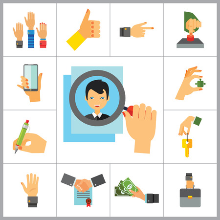raise the thumb: Business Hand Icon Set. Thumb Up Press Button Pointing Finger Writing Raising Hands Palm Hand With Key Hand With Phone Hand With Puzzle Briefcase Hand With Banknotes Hand With Magnifier Partnership