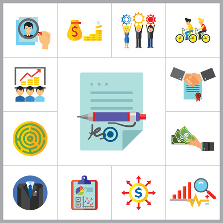 dealing: Business Icon Set. Head Hunting Money Team Workforce Signing Contract Personal Connection Cash Business Data Budget Analysis Business Style Report Illustration