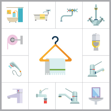 water hose: Bathroom Icon Set. Sink And Mirror Towel On Hanger Toilet Pan Toilet Paper Shower Spray Bath Tube Bathroom Interior Water Tap Mixer Tap Faucet With Hose Chrome Mixer Tap Ball Valve Silver Water Tap