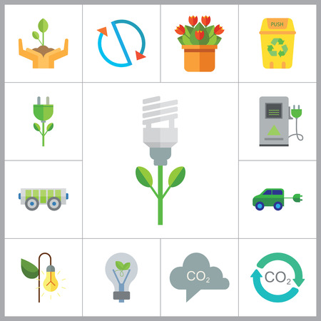 eco energy: Eco Icon Set. Electrocart Flowers Electrocar Carbon Dioxide Cycle CO2 In Cloud Eco-friendly Lightbulb Circulation Sign Electric Plug Flower Lamp Flower Environmental Protection Eco Energy Recycle Bin