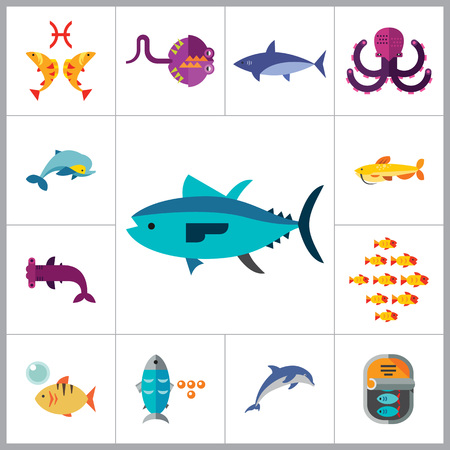 pez martillo: Icono conjunto de pescado. Piezas pulpo Dolphin Tibur�n siluro pescado en conserva de at�n pescado baj�o Caviar Hammerhead mar de los pescados del pat�n del Goldfish