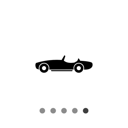cabriolet: Cabriolet flat icon. Black vector illustration of car