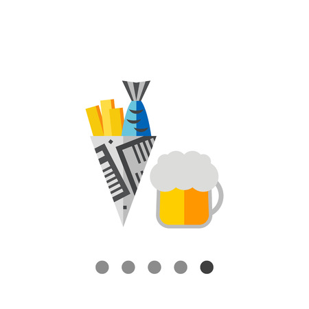 Fish and chips vector icon. Multicolored illustration of beer with fish and chips