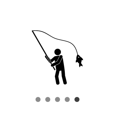 Fisherman with fish on rod. Leisure, tackle, water. Fishing concept. Can be used for topics like fishing, sport, fishery.