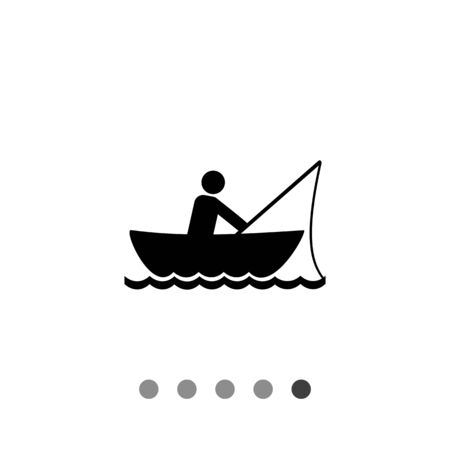 fisher man: Monochrome vector icon of man fishing in boat Illustration