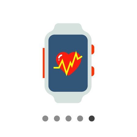 heart rate monitor: Multicolored flat icon of fitness tracker with heart rate monitor