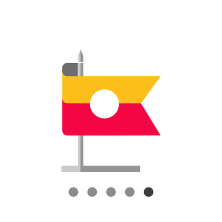 Icon of striped rectangular flag on stand