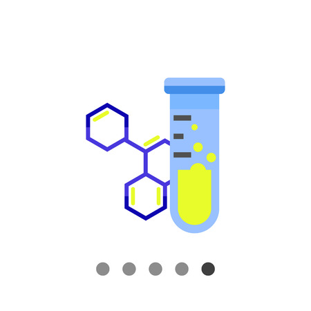 reagent: Multicolored vector icon of flask with substance on background of molecular structure