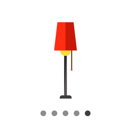 Multicolored vector icon of floor lamp with red lampshade
