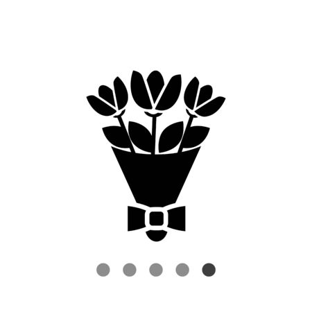 bunch flowers: Vector icon of flower bouquet with bow