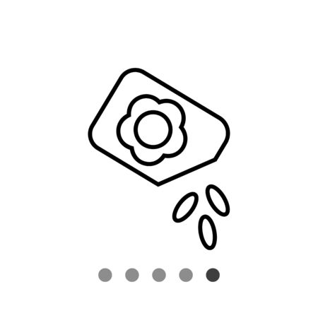 Icon of flower seed packet with few seeds falling out Illustration