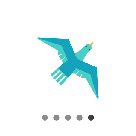 Icon of flying blue bird Illustration