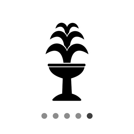 waterworks: Monochrome vector icon of fountain with three jets on standing basin