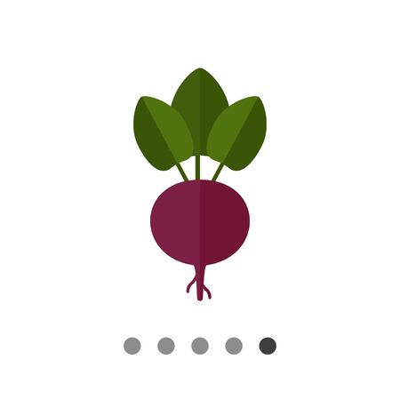 Vector icon of fresh beetroot with leaves Illustration
