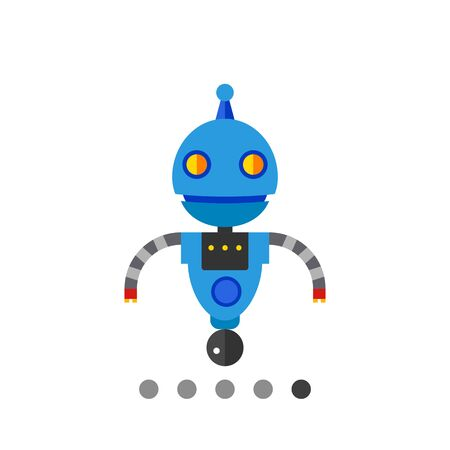 funny robot: Funny robot on rolling ball. Toy, futuristic, intelligence. Robot concept. Can be used for topics like technology, electronics, mechanics. Illustration