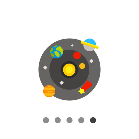 Multicolored vector icon of model of galaxy with Sun, planets, comet and stars Illustration