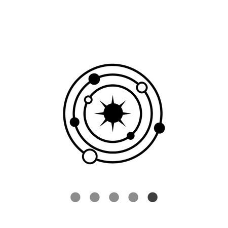 stargazing: Monochrome vector icon of model of galaxy with Sun and planets