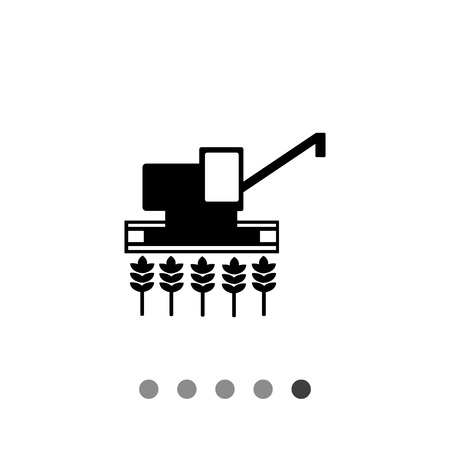 Monochrome vector icon of combine harvester gathering crop on field