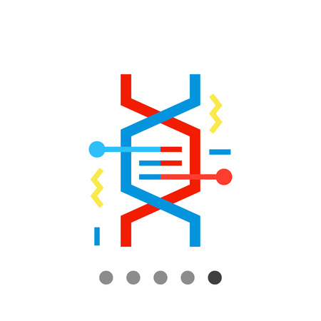 heredity: Multicolored vector icon of DNA fragment representing genetics concept