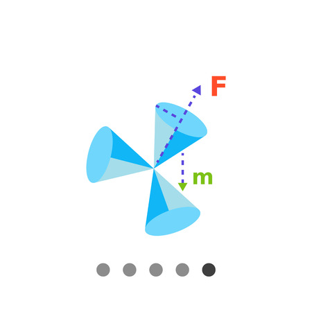 representing: Multicolored vector icon of three cones with vectors of force and mass representing geometry