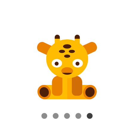 baby playing toy: Multicolored vector icon of sitting giraffe toy Illustration