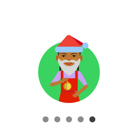 Female character, portrait of African American girl wearing Santa hat, fake beard, holding Christmas ball Illustration