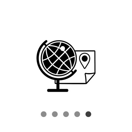 Monochrome vector icon of globe, map and location pointer on it representing geography concept