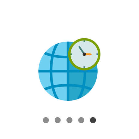 Globe and clock in front of it. Map, international, GMT. World time concept. Can be used for topics like business, management, geography, finance.