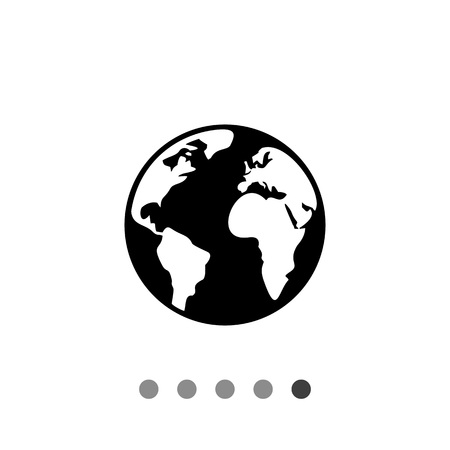 terrestrial: Monochrome vector icon of terrestrial globe with continent and ocean outlines Illustration
