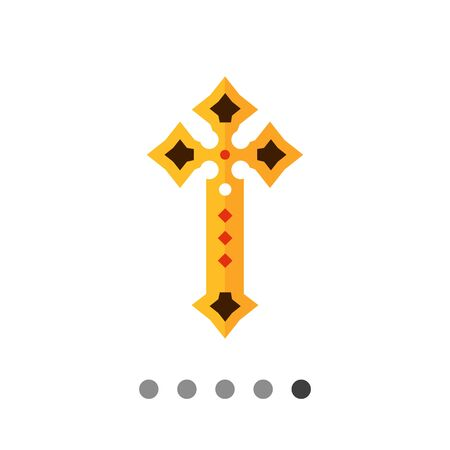 gemstones: Multicolored vector icon of golden Christian cross decorated with gemstones Illustration