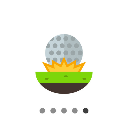 approach: Golf ball fallen on grass. Approach, stroke, competition. Golf concept. Can be used for topics like golf, sport, games. Illustration
