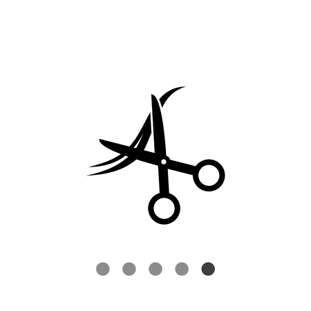 hair cutting: Monochrome vector icon of scissors cutting strand of hair, representing haircut concept